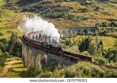 Steam Train on Glenfinnan Viaduct in Scotland in August 2020, post processed using exposure bracketing Photo stock ©