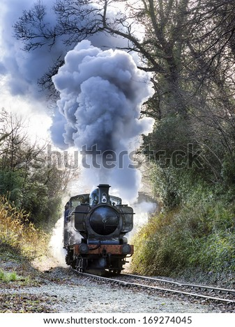 steam train puffing along the...
