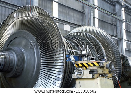 Steam turbine at workshop