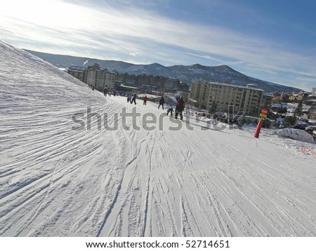 STEAMBOAT SPRINGS, COLORADO - JAN 30 - Skiers slide into the base area on Jan 30, 2010, in Steamboat Springs, Colorado