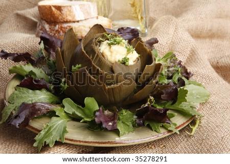 Steamed Artichoke stuffed with Hollandaise sauce