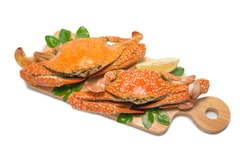 Steamed Blue Crab on white background,Steamed Crab On a wooden plate Isolated on white background