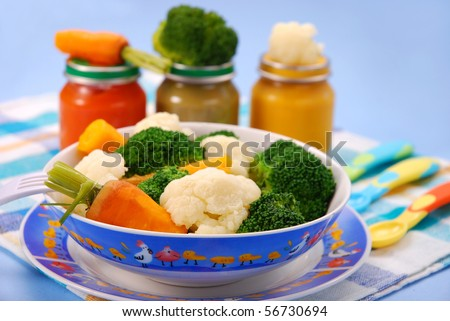steamed broccoli,carrot and cauliflower for baby or ready vegetables in jars