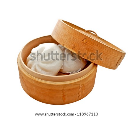 steamed Chinese bun in bamboo basket isolated on white background