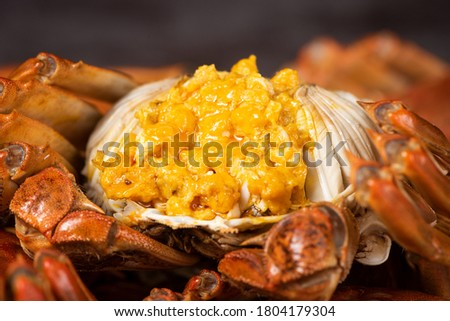 steamed chinese mitten crab, shanghai hairy crab close up on plate Photo stock ©