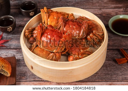 steamed chinese mitten crab, shanghai hairy crab in bamboo steamer Photo stock ©