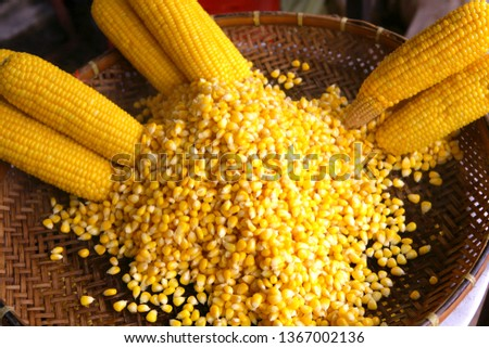 Steamed corn on a market in Thailand, Southeast Asia, Asia