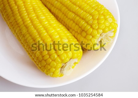 Steamed corns (boiled corns) on the white plate, white background, isolated - close up, top view #1035254584