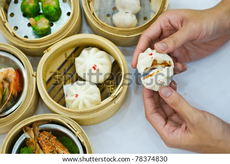 Steamed dumpling and dimsum with hand