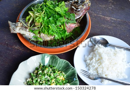 Steamed fish. - stock photo