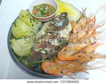 Steamed fish, steamed shrimp, steamed vegetables, dipped #1315806602