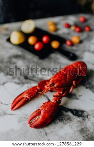 Steamed red lobster for dinner #1278561229
