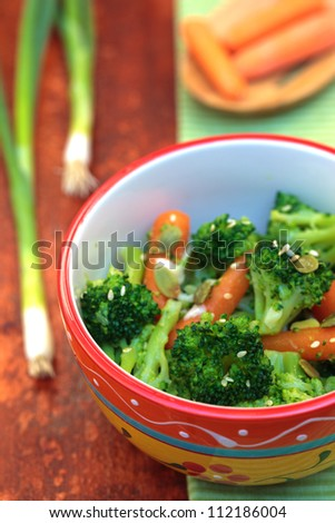 Steamed, Seasoning Vegetables - Broccoli With Baby Carrots ...