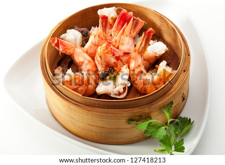 Steamed Shrimp in Bamboo Bowl - stock photo