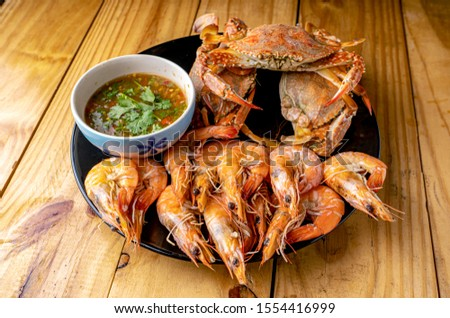 Steamed shrimp,Steamed crab,Steamed shrimp and crab with dipping sauce #1554416999