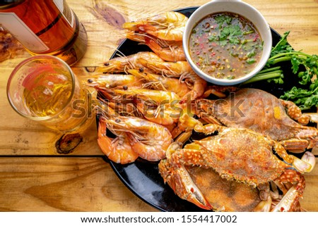 Steamed shrimp,Steamed crab,Steamed shrimp and crab with dipping sauce #1554417002