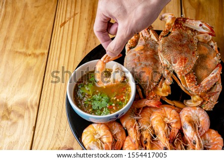 Steamed shrimp,Steamed crab,Steamed shrimp and crab with dipping sauce #1554417005