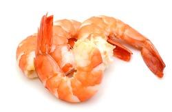 Steamed tiger shrimp isolated on white background