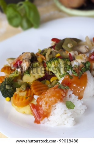 Steamed Vegatables - Chicken with rice