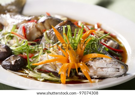 steamed whole  fish soy sauce, snake-head fish steamed with soy sauce