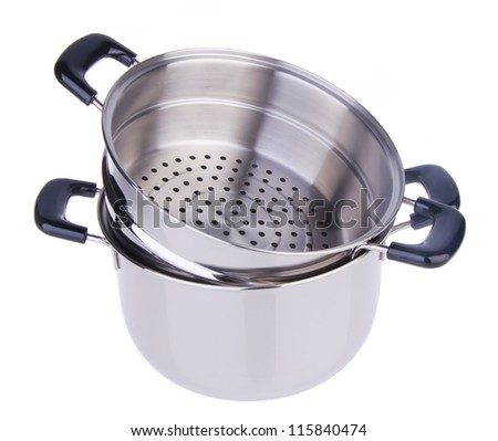 steamer pan on white background