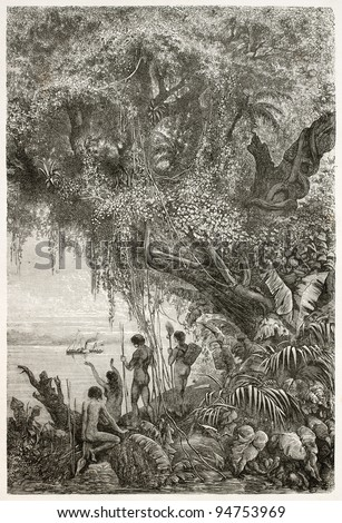 Steamer sailing in the Amazon river while natives watching it from the bank, old illustration. Created by Riou and Prevost, published on Le Tour du Monde, Paris, 1867