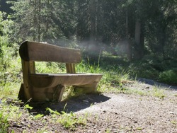 steaming bench on a sunny morning after big rain fall