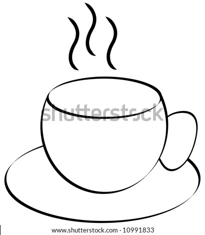 steaming cup of coffee or tea outline on white background