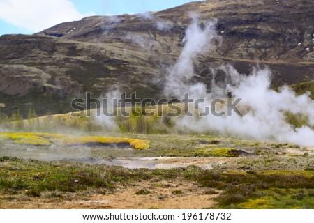 Steaming geothermal hot water Iceland