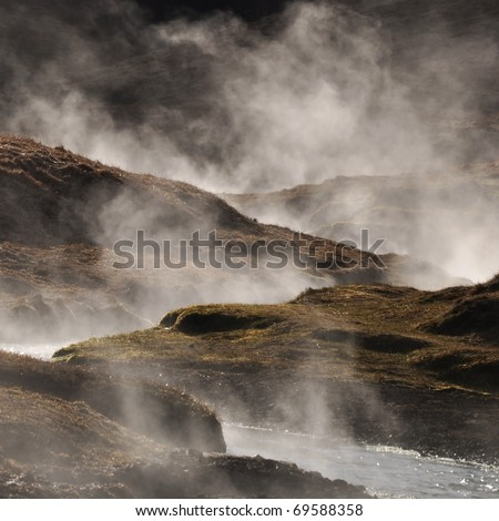 Steaming geothermal hot water, Iceland