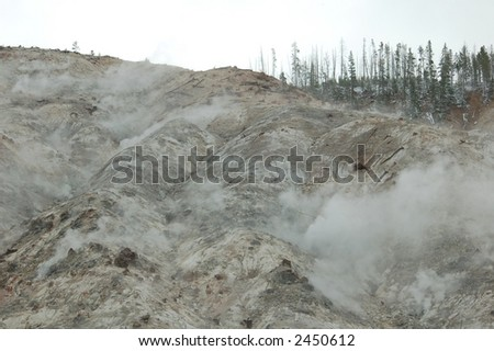 Steaming hill side in Yellowstone National Park, Wyoming