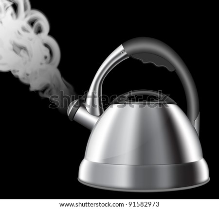 Steaming kitchen kettle - stock photo