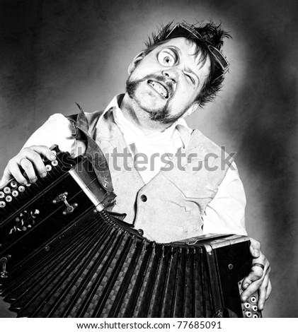 Steampunk accordion player