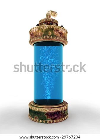 Steampunk aged copper laboratory bottle for experiments isolated on white background. Clipping path included