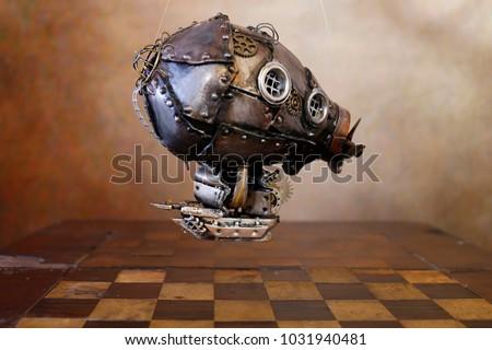 Steampunk airship gears chessboard flight