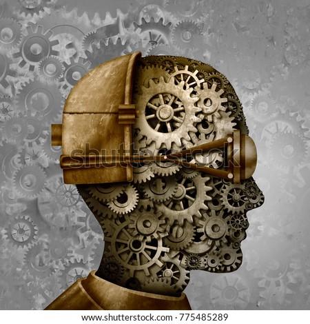 Steampunk and steam punk antique machine technology intelligence design as a retro gear cyberpunk and machine cog head design as science fiction fantasy art as a 3D illustration.