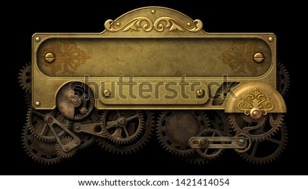 Steampunk brass decorative panel with intricate clockwork mechanism 3D illustration