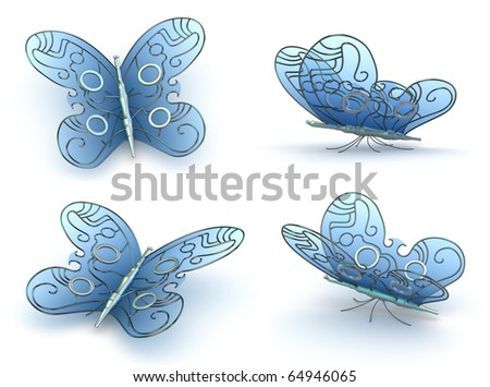 Steampunk Butterfly's on white background