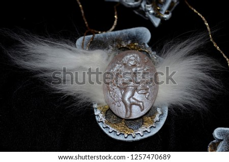 Steampunk christmas tree toy with an angel cameo and fluff #1257470689