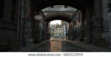 Steampunk cityscape. Vintage urban landscape. Empty street with old brick houses and arch. Photorealistic 3D illustration. Authentic retro wallpaper. Photo stock ©