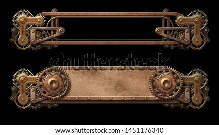 Steampunk copper banners with cogwheels isolated on black 3D illustration