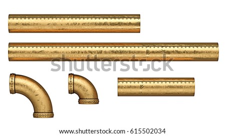 Steampunk copper metal tubes set. Isolated on white background. 3D Illustration