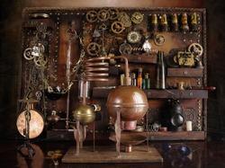 Steampunk distiller with ancient gears