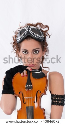 Steampunk girl with goggles and violin looking ahead isolated on white.