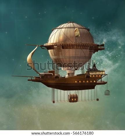 Steampunk hot air balloon - 3D illustration