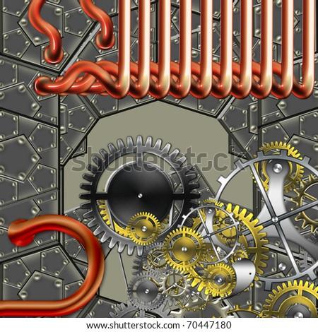 steampunk industrial mechanism