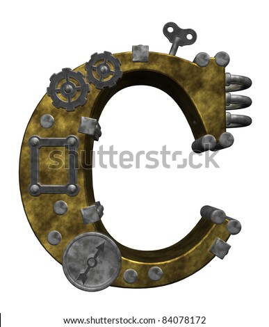 steampunk letter c on white background - 3d illustration