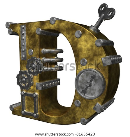 steampunk letter d on white background - 3d illustration