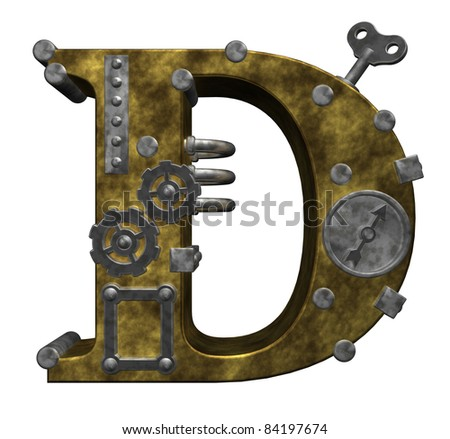 steampunk letter d on white background - 3d illustration