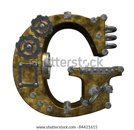 steampunk letter g on white background - 3d illustration